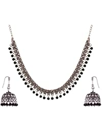 Ganapathy Gems Black Metal Strand Necklace Set For Women (GPJC26)