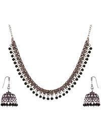 Ganapathy Gems Black Metal Strand Necklace Set For Women (GPJC26)