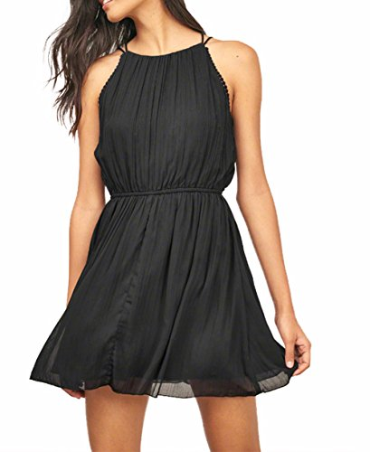 ZZER-Women-Casual-Sleeveless-Skater-Chiffon-Bandage-Cocktail-Party-Dress