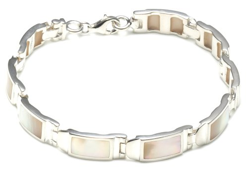 Silver Rectangle White Mother-of-Pearl Bar Bracelet 18cm