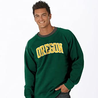 NCAA Oregon Ducks Legacy Nuvola Cotton Sueded Crew Neck Sweatshirt by Ouray Sportswear