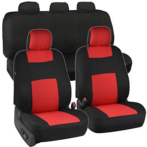 Black & Red Polyester Cloth Car Seat Covers - Option Bench (Solid Bench) (Solid Red Seat Covers compare prices)