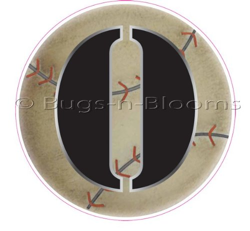 """O"" Baseball Alphabet Letter Name Wall Sticker (5 1/2"" Diameter). Decal Letters For Children'S, Nursery & Baby'S Sport Room Decor, Baby Name Wall Letters, Boys Bedroom Wall Letter Decorations, Child'S Names. Sports Balls Mural Walls Decals Baby Shower front-1022908"