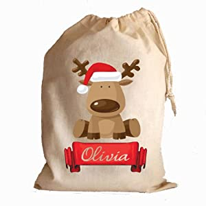 Personalised Santa stocking gift bag childrens christmas present sack ...