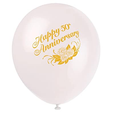 6 Count 50th Anniversary Latex Balloons, 12-Inch, White