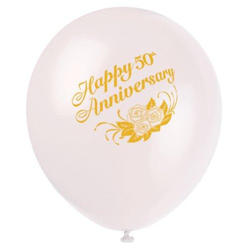 """12"""" White Latex 50th Anniversary Balloons, 6ct"""
