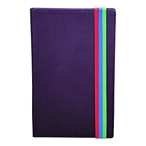 Samsill Fashion Color Writing Journal, Hardcover, Classic Size, 5.25 Inch x 8.25 Inch , 120 Lined Sheets (240 Pages), Purple with Three Colorful Coordinating Elastic Bands (Diary, Notebook)