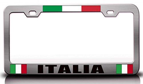 ITALIA Italian Flag Steel Metal License Plate Frame Ch # 70 (Italia License Plate Frame compare prices)