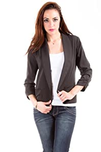Eye Shadow Casual Lined Blazer in Cool Black