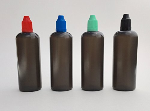 U-Need-A-Bottle (4) Color Variety Pack Plastic Bottles (Red Blue Green Black) - 120 ml (4 oz) - BPA FREE - LDPE PE - EASY SQUEEZE Liquid Dropper Tip - Small Empty ROUND, Best For E Cig & Juice w/ Cap (Tiny Apothecary Bottles compare prices)