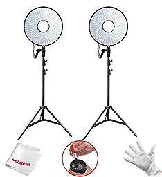 FalconEye ® Photography Video Studio 630 LED Ring Light Video Light 5500K~6000K Temperature For DSLRS + 2M/6.5ft Light Stand (2 Sets)