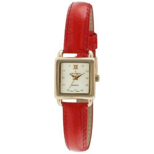 peugeot-womens-14k-gold-plated-small-square-skinny-coral-glossy-leather-dress-watch-3034rd