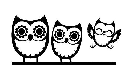 Owl Family of Three Decal Sticker, White, Black, Silver, Yellow, or Blue, H 3 By L 6.5 Inches (Owl Auto Decal compare prices)