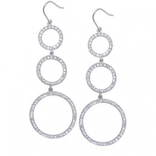 C.Z. Triple Graduated Circle (.925) Sterling Silver Earring (Nice Holiday Gift, Special Black Firday Sale)
