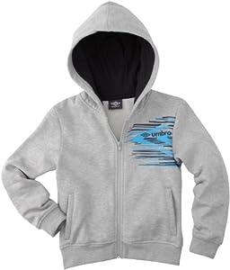 Umbro World Sweatshirt à capuche zippé garçon Gris Chine/Anthracite/Bleu FR : 8-10 ans (Taille Fabricant : 126)