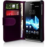 Purple Leather Wallet Vertical Case for Sony Xperia J (Experia ST26i) - Flip Phone Cover Pouch Skin + 2 Membrane Screen Protectors