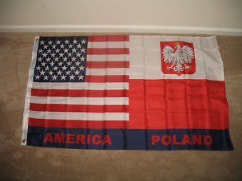 USA Poland Polska Polish American SuperPoly 3x5 Flag