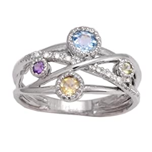 10k White Gold Blue Topaz, Citrine, Amethyst, Peridot and Diamond Multi-Gemstone Ring, Size 7