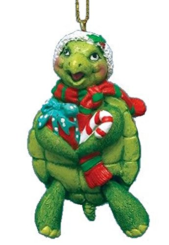 Turtle Christmas Ornament w/ Santa Hat & Hinged Legs