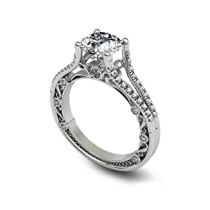 1.53 ct Round Cut Diamond Engagement Ring VVS1 / D 18k White Gold from The Diamond Exchange