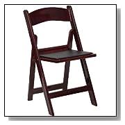 Mahogany Wood Folding Chair Vinyl Padded Seat
