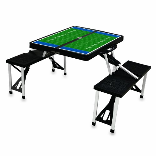 Picnic Time Black with Football Field Design Portable Folding Table/Seats