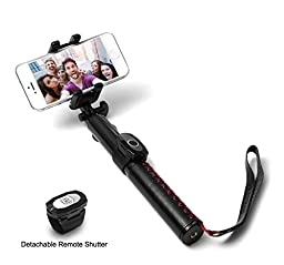 G-Cord [Luxury Leather] Bluetooth Wireless Selfie Stick Monopod with Removable built-in Remote Shutter for iPhone Samsung LG and More