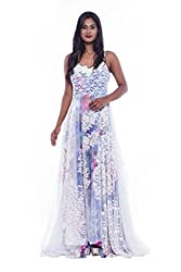 White and blue lace evening gown