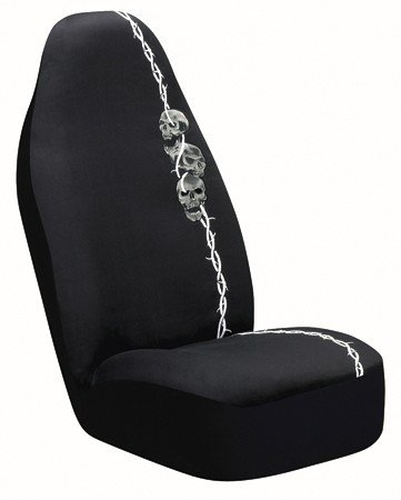 Barbed Wire Skulls Universal Bucket Seat Cover, Black (Skull Seat Covers A compare prices)