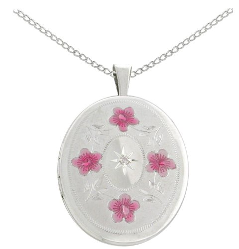 Sterling Silver Diamond Accent Flowers and Leaves Oval Locket Pendant Necklace, 18