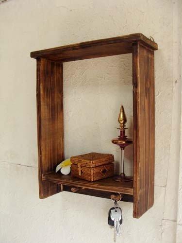 アジアン家具 バリ家具 ♪ナチュラルウッドハギングラック♪ 壁掛け収納 吊り戸棚 飾り棚 ディスプレイラック 木製