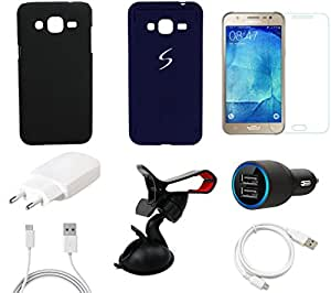 NIROSHA Tempered Glass Screen Guard Cover Case Charger USB Cable Mobile Holder for Samsung Galaxy J5 - Combo
