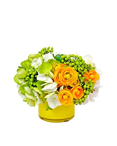 Creative Displays Ranunculus & Berry Floral Pot, Orange/Green/White/Yellow