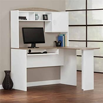 Corner L Shaped Office Desk with Hutch (White/Sonoma Oak)