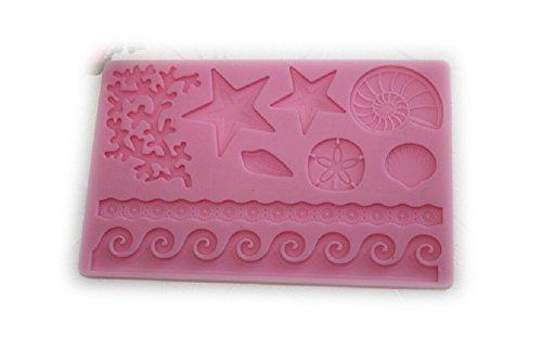 Auket Relief Starfish vague Conch Fondant à gâteau en silicone Cookie Cutter bord Border #120 (3DMold-120)