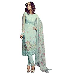 Desi Look Women's Green Georgette Unstitched Salwar Suit With Dupatta