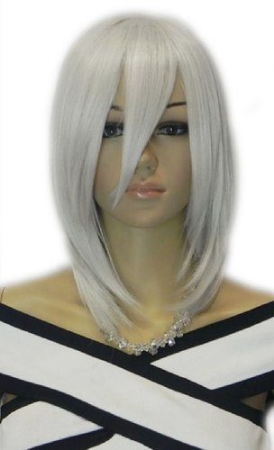 Qiyun Medium Long Silver Grey Straight Cosplay Anime Costume Full Hair Wig