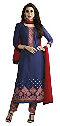 Sree Impex Women Heavy Cotton Semi Stitched Dress Material (SI-SK-39_Blue_Free Size)