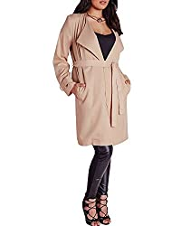 Lurap Women's Brown Plus Size Longline Crepe Mac Camel - Regular & Plus Size