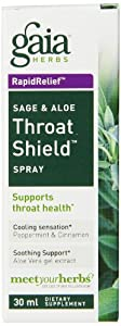 Gaia Herbs Sage and Aloe Throat Shield Spray, 1 Ounce