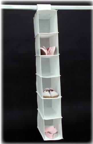 H & L Russel 6 Pocket Children's Hanging Shoe Organiser White 47cm x 91cm x 53cm