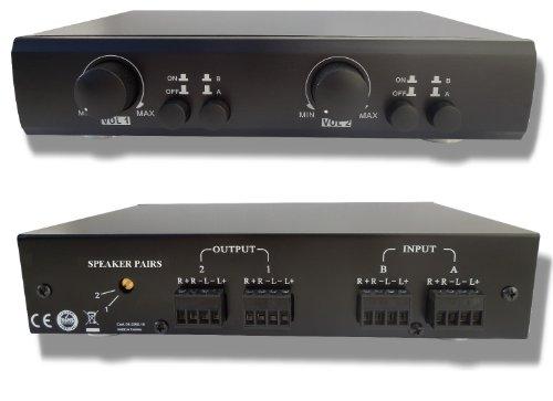 2 Pair Speaker Selector Switch Switcher Splitter With Volume Level Control, 300Watt, Impedance Matching