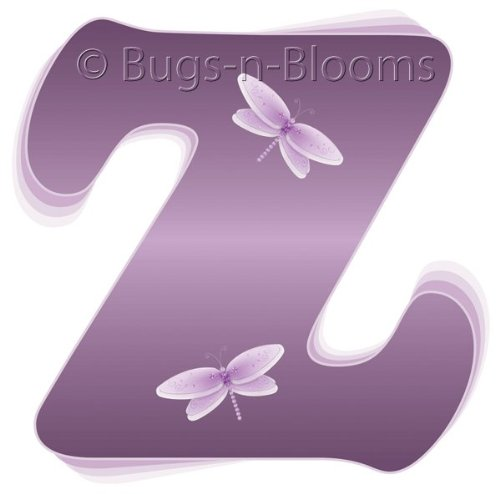 """Z"" Purple Dragonfly Alphabet Letter Name Wall Sticker. Decal Letters For Children'S, Nursery & Baby'S Room Decor, Baby Name Wall Letters, Girls Bedroom Wall Letter Decorations, Child'S Names. Dragonflies Mural Walls Decals Baby Shower front-987718"
