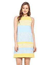 Saiesta Yellow Color Blocked Poly Cotton Dress