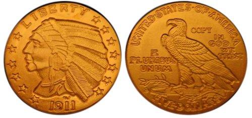 Lot of 10 - 1911-D $5 Indian Head Half Eagle Gold Coins - Replica