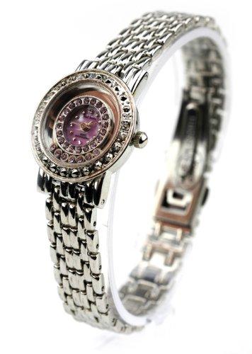 Paul Jardin Silver Tone Lavender Gem Stainless Steel Watch