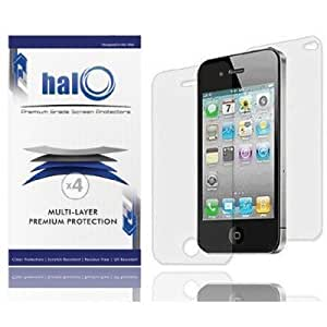 Halo Screen Protector Film Clear (Invisible) for iPhone 4S 4G 4 (3 Pack + 3 Back Films) Lifetime Replacement Warranty
