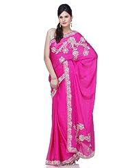 Chhabra555 Pink Satin Embroidery Saree - B00J4RKD7U