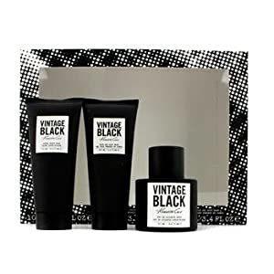 Kenneth Cole Vintage Black 3 Piece Gift Set for Men (Eau de Toilette Spray, After Shave Balm, Body Wash)