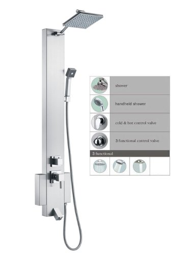 Find Discount Blue Ocean 48 Stainless Steel SP822322 Shower Panel Tower with Rainfall Shower Head a...